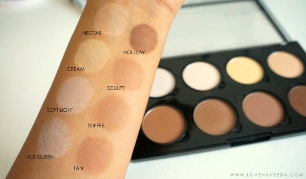 NYX HIGHLIGHT AND CONTOUR PRO PALETTE SWATCH REVIEW TUTORIAL LOVE NAHEEDA 8